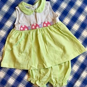 Green Plaid Seersucker Pink Ladybug Dress & Pants